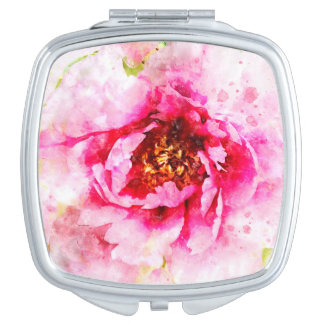 Pink Peony Watercolor Art Compact Mirrors