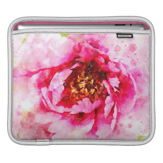 Pink Peony Watercolor Art iPad Sleeve