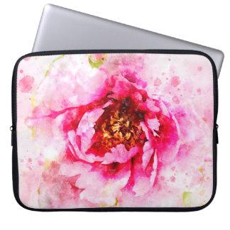 Pink Peony Watercolor Art Laptop Sleeve