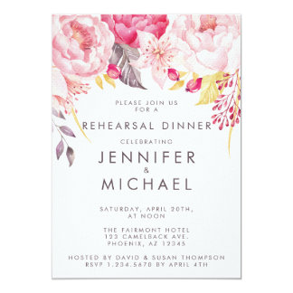 Pink Peony Watercolor Floral Rehearsal Dinner Card