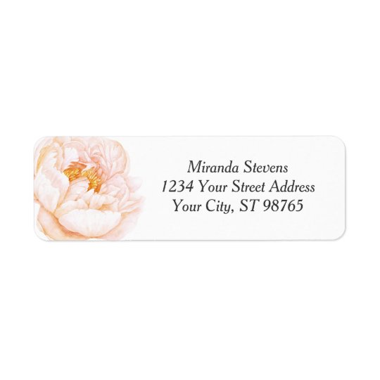 Pink Peony Watercolor Floral Return Address Label