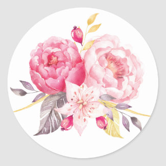 Pink Peony Watercolor Floral Wedding Sticker