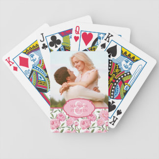 Pink Peony Watercolor Flowers - Wedding Photo Bicycle Playing Cards