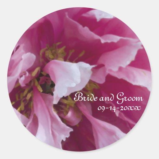 Pink Peony Wedding Envelope Seals Round Sticker
