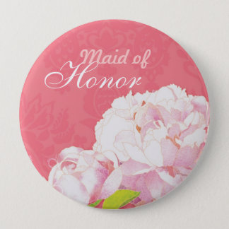 """Pink Peony Wedding Maid of Honor Buttons (4"""")"""