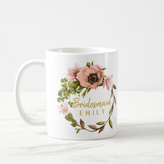 Pink Peony Wreath Bridesmaid Name ID456 Coffee Mug