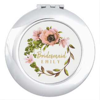 Pink Peony Wreath Bridesmaid Name ID456 Compact Mirror