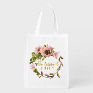 Pink Peony Wreath Bridesmaid Name ID456 Reusable Grocery Bag