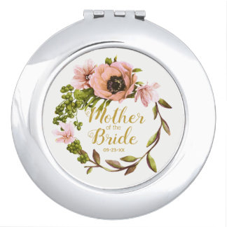 Pink Peony Wreath Mother of the Bride ID456 Mirror For Makeup