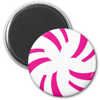 Pink Peppermint Print Candy Logo Magnet