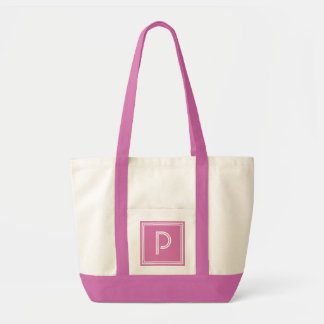 PINK PERFECTION BEACH-ANY LETTER MONOGRAM TOTE BAG