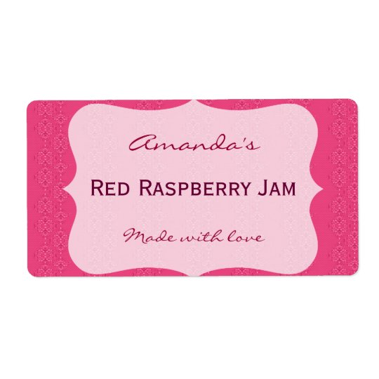 Pink Personalised Canning Label