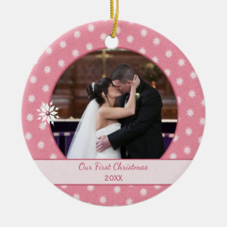 Pink Personalised snowflakes First Christmas Photo Round Ceramic Decoration