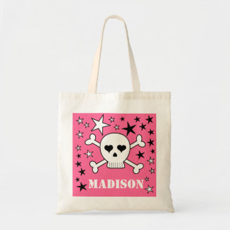 Pink Personalizeable Crossbone Skull and Stars Bags
