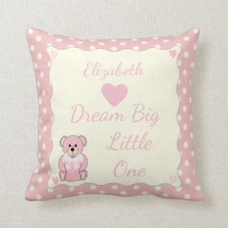Pink Personalized baby name Teddy Bear Cushion