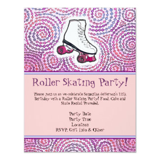 Pink Personalized Roller Skating Party Invitation