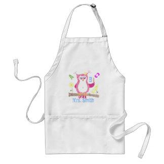 Pink personalized teacher owl apron . standard apron