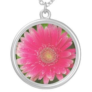 Pink petal flower necklace
