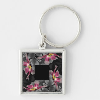 Pink Petal Patchwork Keyring Silver-Colored Square Key Ring