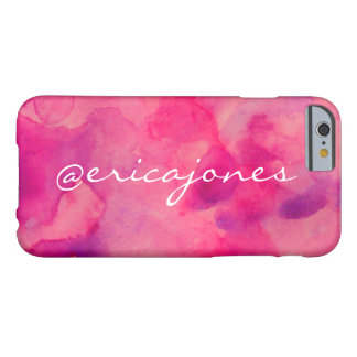 Pink Petal Watercolor Twitter Handle Barely There iPhone 6 Case