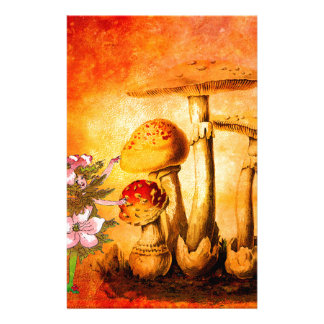 PINK PETALS AND ORANGE MUSHROOMS 2 STATIONERY
