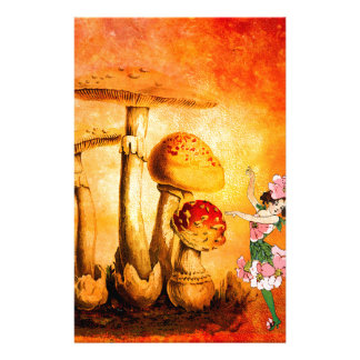 PINK PETALS AND ORANGE MUSHROOMS 3 STATIONERY