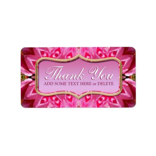 Pink Petals Pattern Thank You Sticker Labels