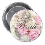 Pink Petals & Pearls Bride Pinback Button
