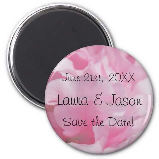 """Pink Petals """"Save the Date""""  Magnet"""