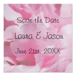 "Pink Petals ""Save the Date""  Square Card 13 Cm X 13 Cm Square Invitation Card"