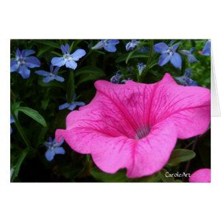 """Pink Petunia Blue Lobelia"" Note Card"