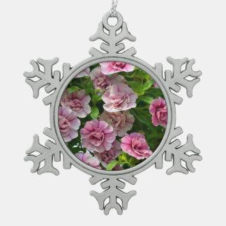 Pink petunia flowers christmas ornament