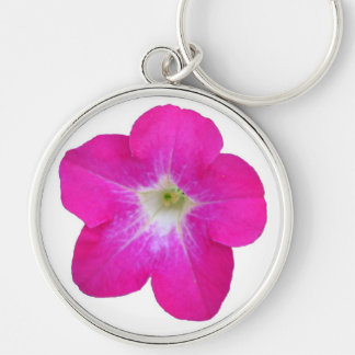 Pink Petunia Silver-Colored Round Key Ring