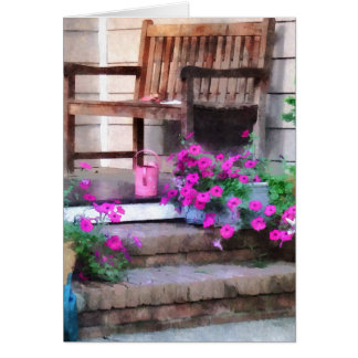 Pink Petunias and Watering Cans Card
