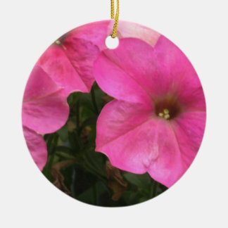 Pink Petunias - close up photo Ceramic Ornament