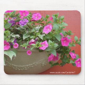 Pink Petunias Planter Mouse Pad