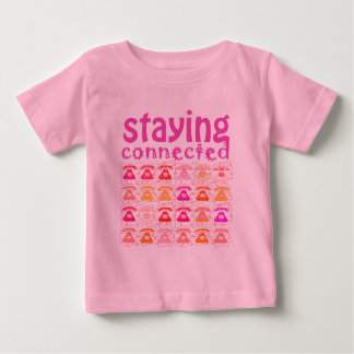Pink Phone Pattern Staying Connected Amusing Girly Baby T-Shirt