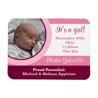 Pink Photo Birth Announcement Flexible Flat Magnet