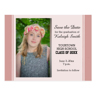 Pink Photo Graduation Save the Date Card