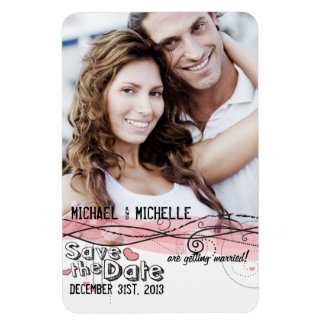 Pink Photo Template Save the Date Rectangular Photo Magnet
