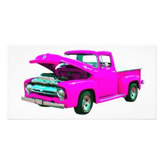 Pink pickup photo greeting card