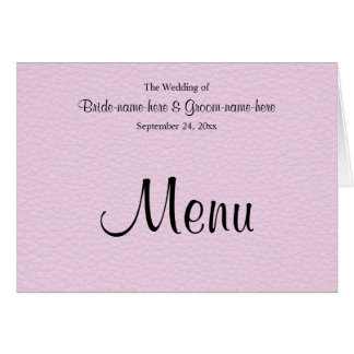 Pink Picture of Leather, Wedding Menu Card