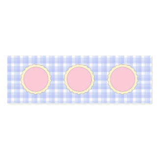 Pink Pie. Strawberry Tart. Blue check. Double-Sided Mini Business Cards (Pack Of 20)