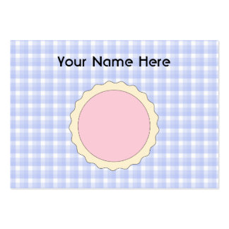 Pink Pie. Strawberry Tart. Blue check. Large Business Cards (Pack Of 100)