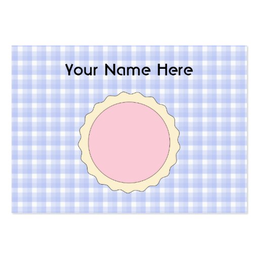 Pink Pie. Strawberry Tart. Blue check. Business Card Template