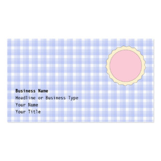 Pink Pie. Strawberry Tart. Blue check. Double-Sided Standard Business Cards (Pack Of 100)