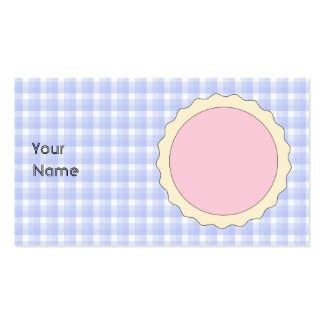 Pink Pie. Strawberry Tart. Blue check. Pack Of Standard Business Cards