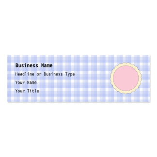 Pink Pie. Strawberry Tart. Blue check. Pack Of Skinny Business Cards