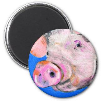 Pink Pig 6 Cm Round Magnet