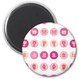 Pink Pig All 6 Cm Round Magnet